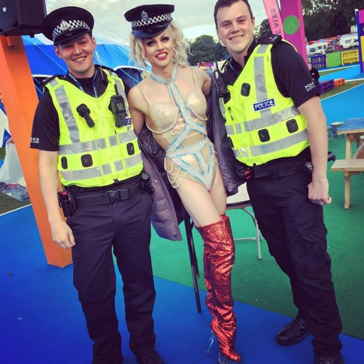 Courtney with the police